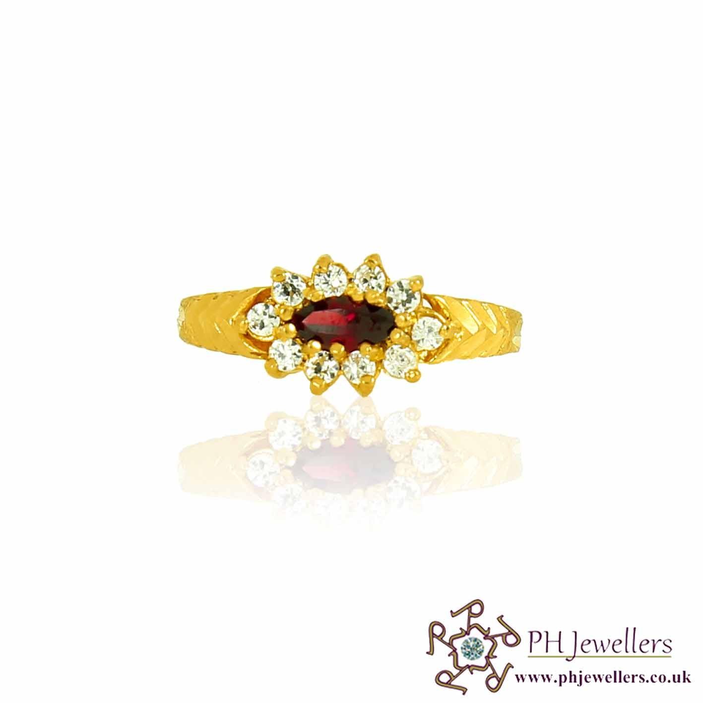 22ct 916 Hallmark Yellow Gold Garnet Size K,L Ring CZ SR83