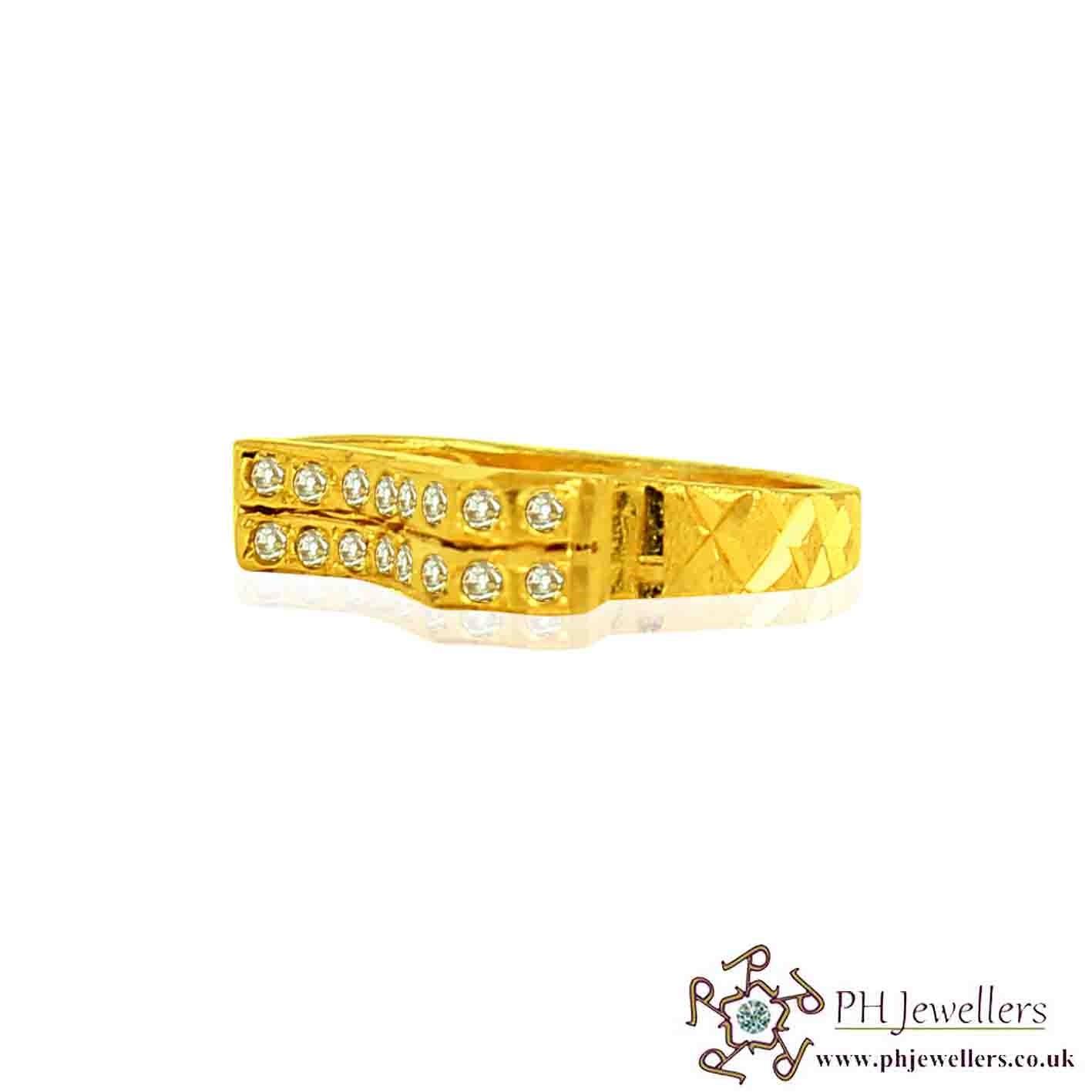 22ct 916 Hallmark Yellow Gold Size J,K,L Ring CZ SR85