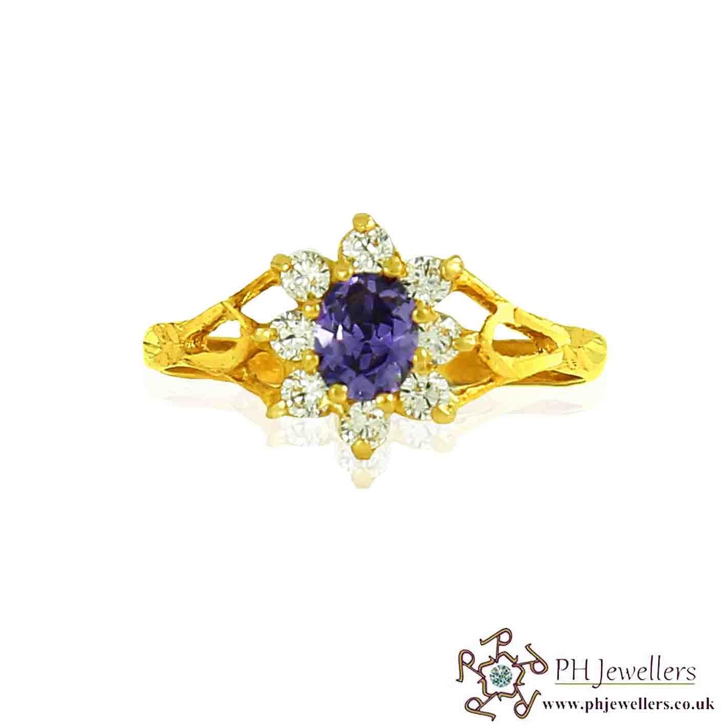 22ct 916 Hallmark Yellow Gold Amythayest Size L1/2,M Ring CZ SR86