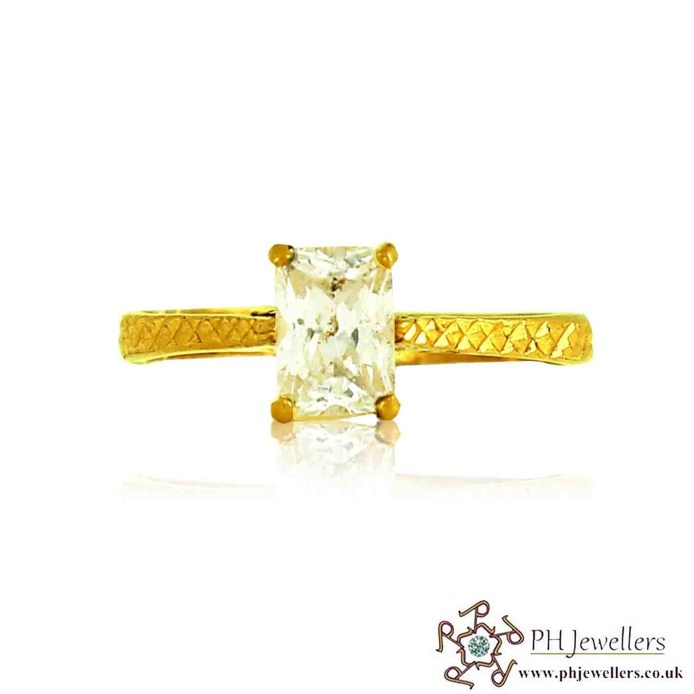 22ct 916 Hallmark Yellow Gold Engagement Princess Size Q1/2, R Ring CZ SR87