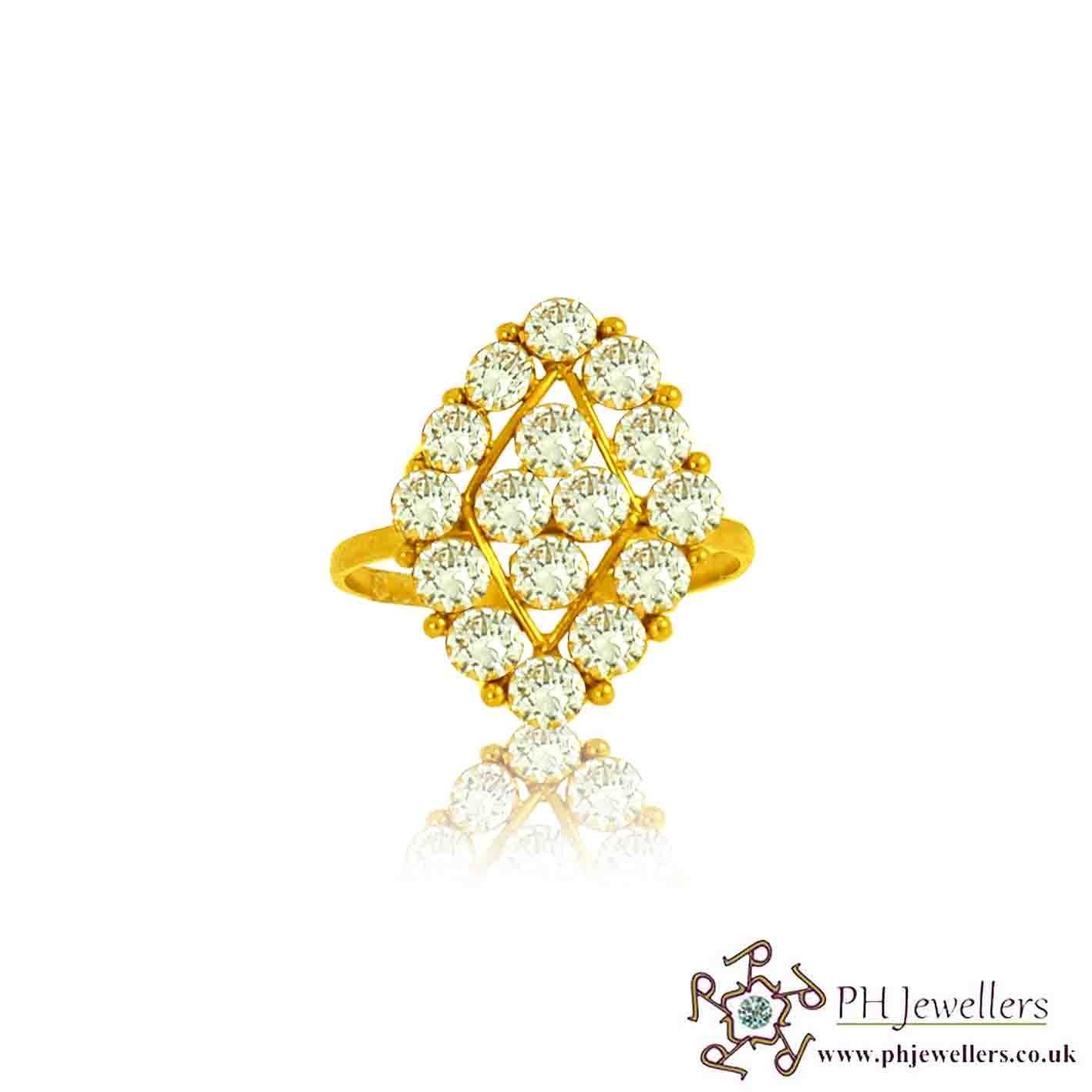 22ct 916 Hallmark Yellow Gold Size K1/2 Ring CZ SR92