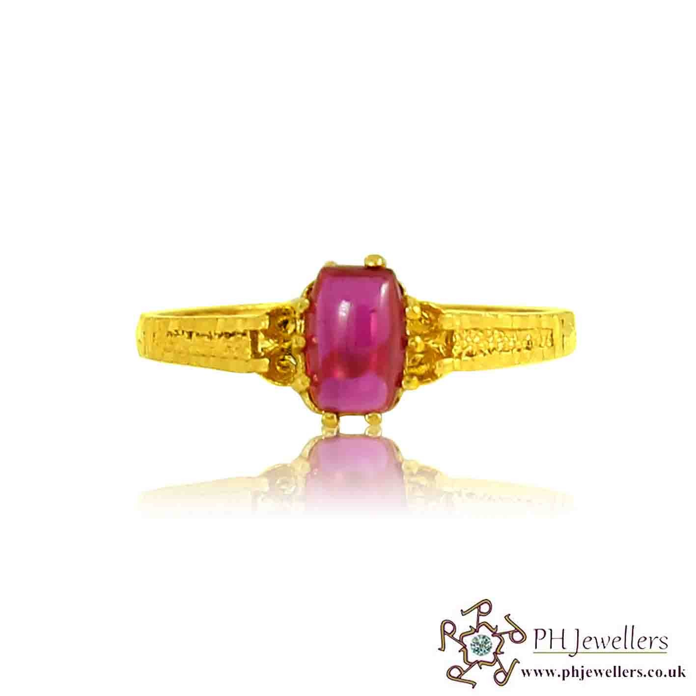 22ct 916 Hallmark Yellow Gold Ruby Size L,M Ring CZ SR93