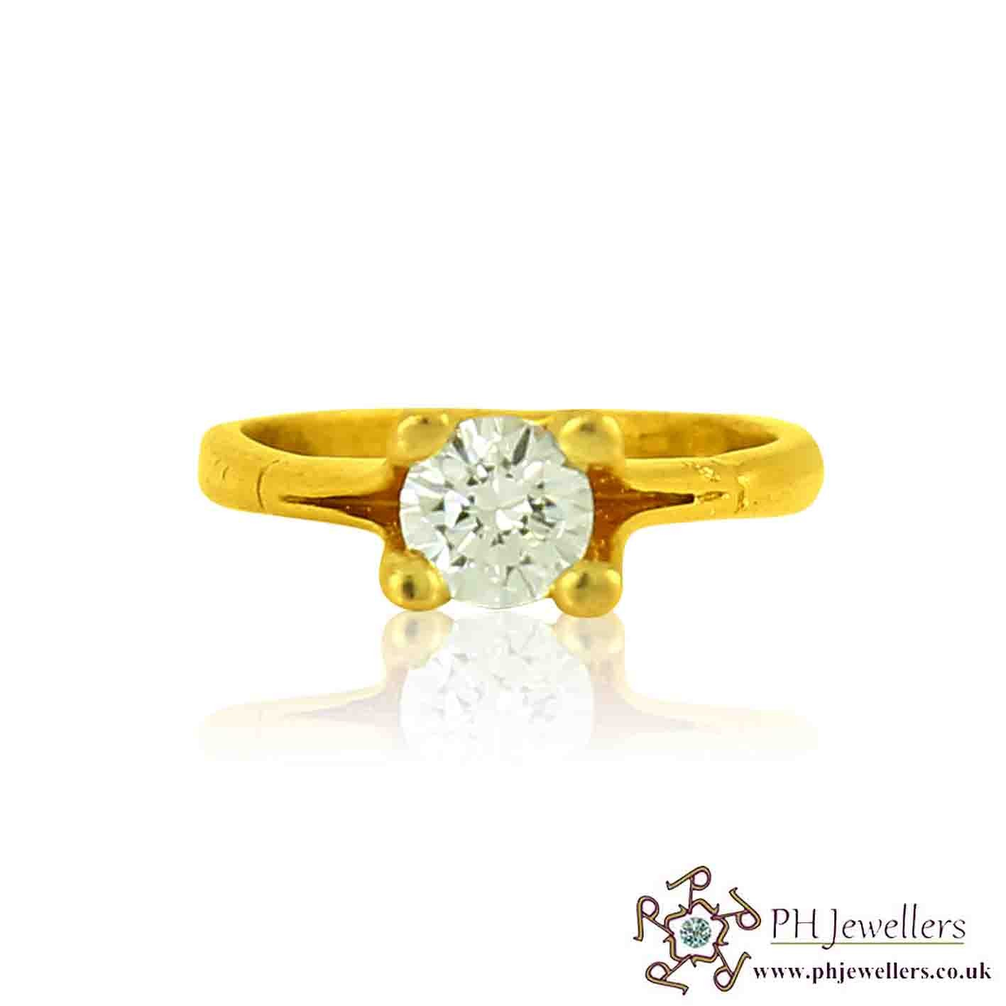 22ct 916 Hallmark Yellow Gold Engagement Round Size G1/2,H Ring CZ SR94