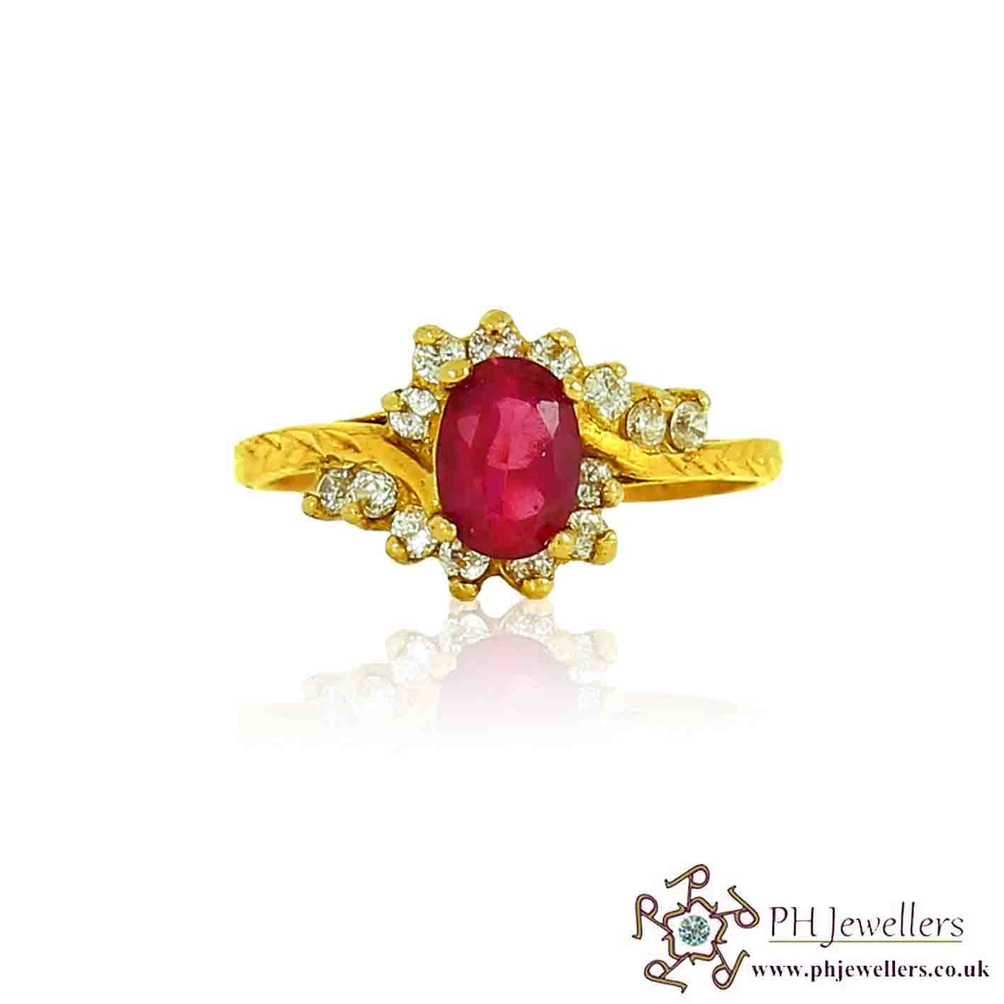 22ct 916 Hallmark Yellow Gold Oval Ruby Size O,P Ring CZ SR95