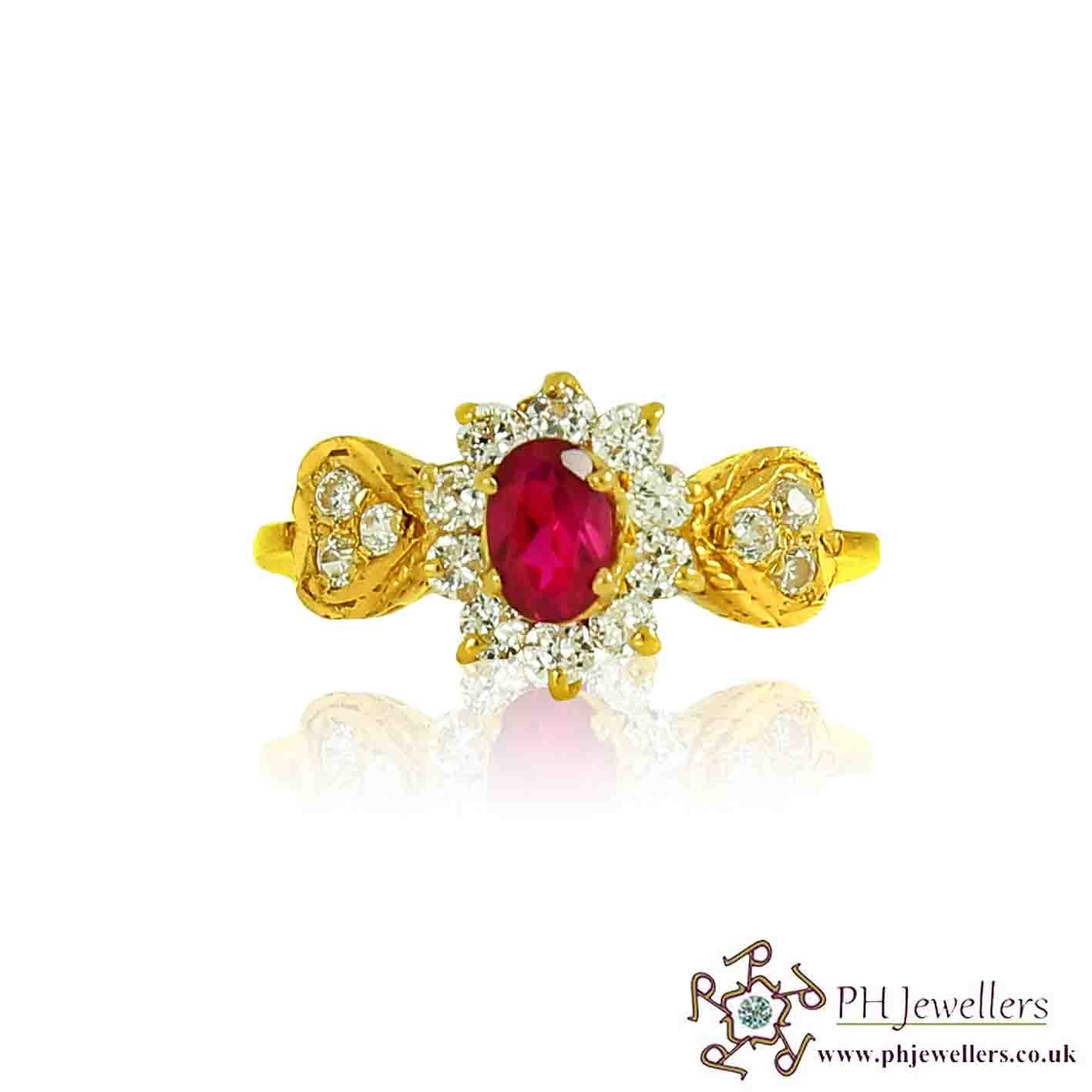 22ct 916 Hallmark Yellow Gold Flower Oval Ruby Size O,P Ring CZ SR96
