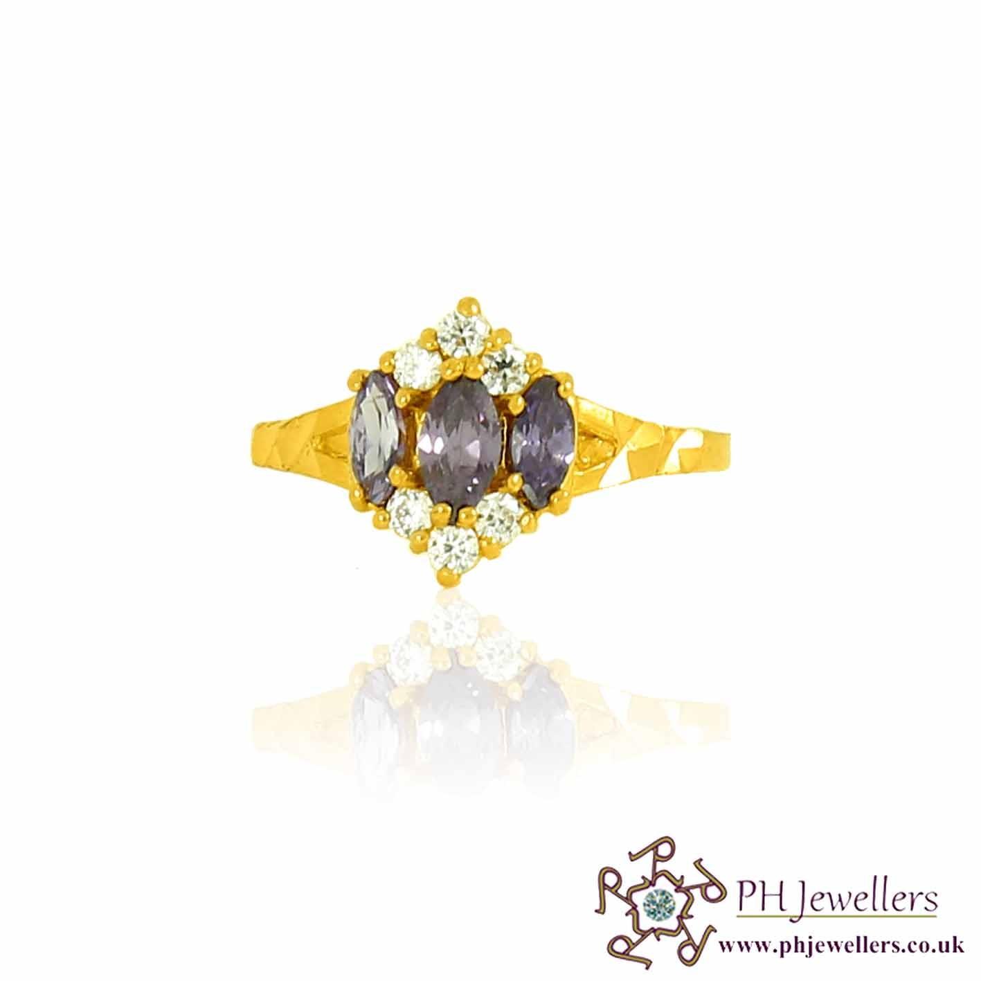 22ct 916 Hallmark Yellow Gold Amythayest Size M,N Ring CZ SR97