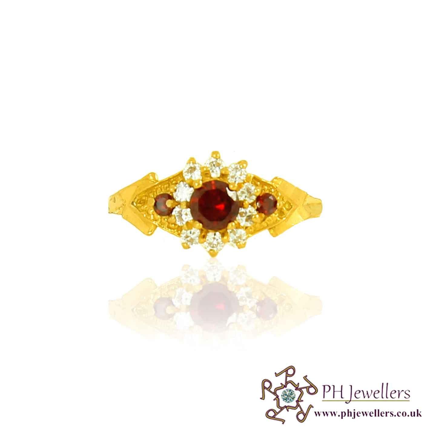 22ct 916 Hallmark Yellow Gold Garnet Size O Ring CZ SR98