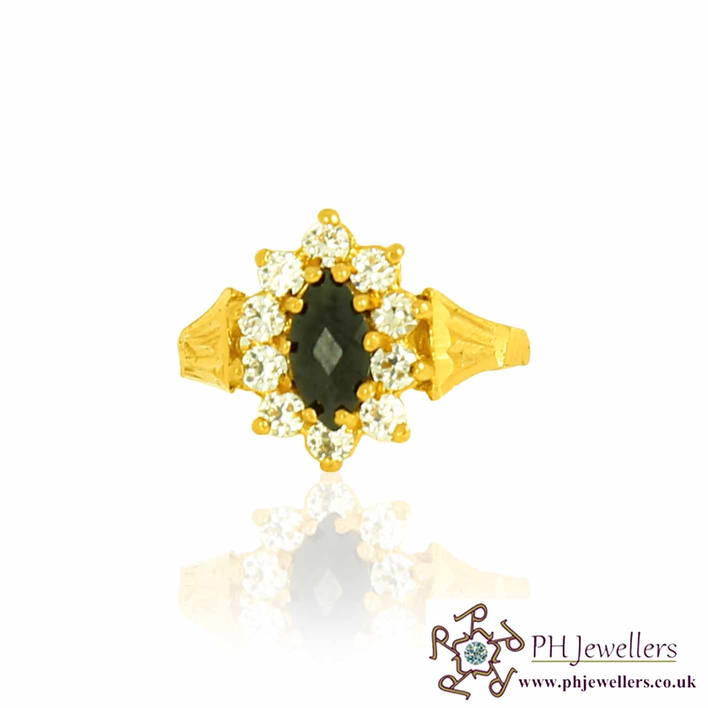 22ct 916 Hallmark Yellow Gold Black/White Size J,K Ring CZ SR99