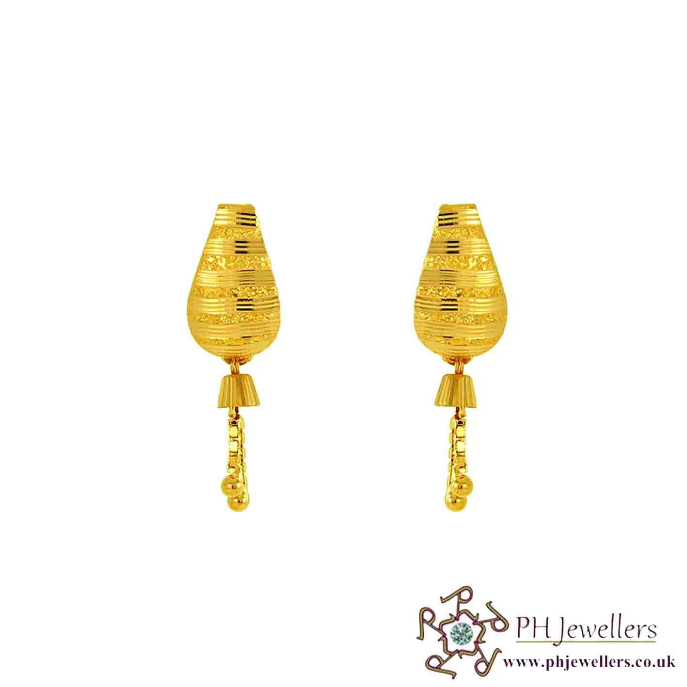 22ct 916 Yellow Gold Dangling Earring TE10