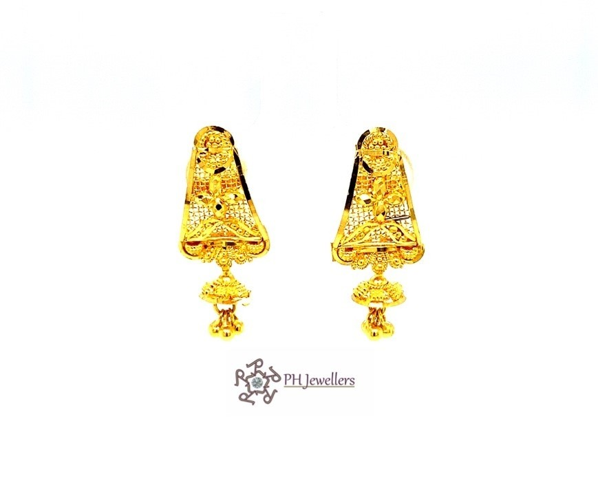 22ct 916 Hallmark Asian Yellow Gold Solid Curved Dangle Tops Earrings TE117