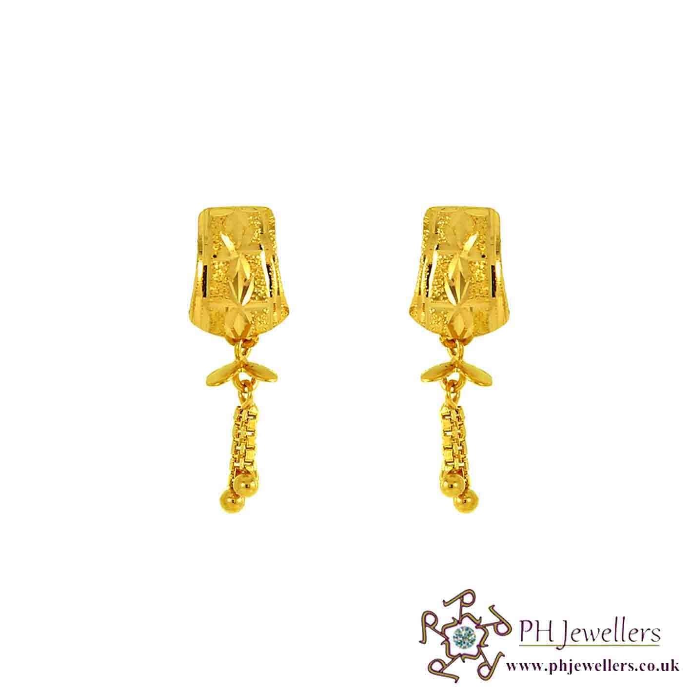 22ct 916 Yellow Gold Dangling Earring TE12