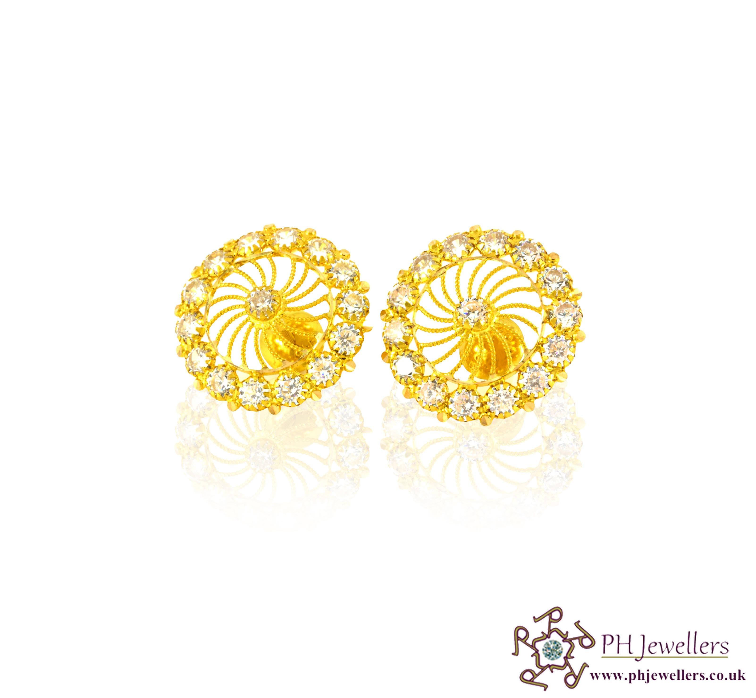 22ct 916 Hallmark Yellow Gold Tops Round Earring CZ TE15