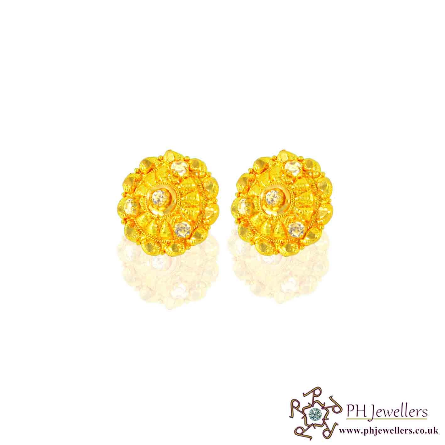 22CT 916 Hallmark Yellow Gold Tops Earring CZ TE17