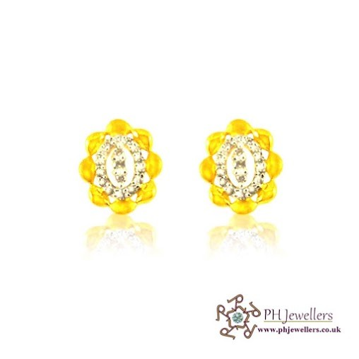22CT 916 Hallmark Yellow Gold Tops Earring CZ TE18