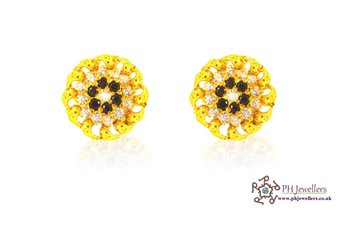 22ct 916 Yellow Gold Tops Earrings CZ TE2
