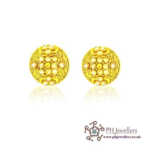 22CT 916 Hallmark Yellow Gold Tops Polki Earring TE21