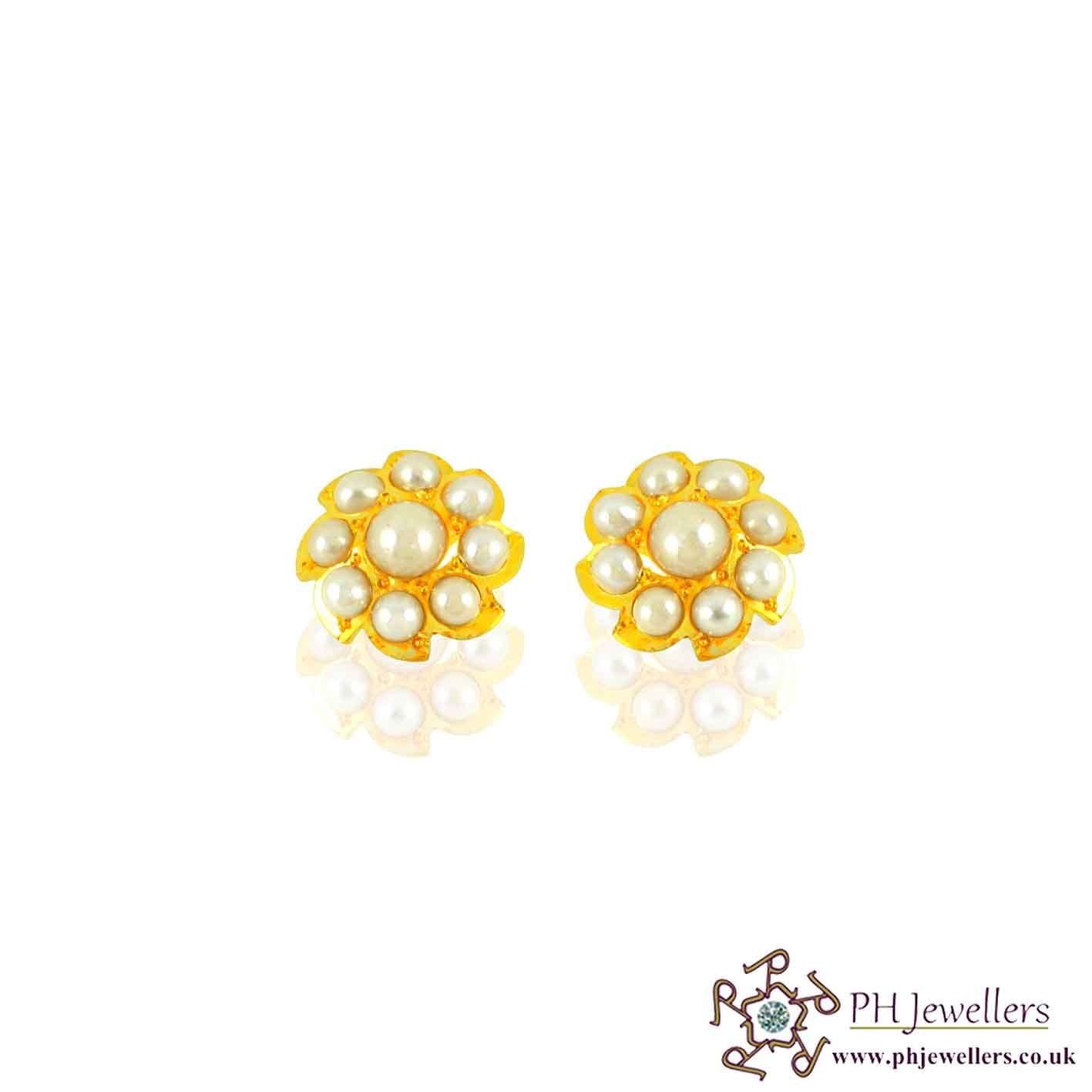 22CT 916 Hallmark Yellow Gold Tops Round Earring Pearl TE22