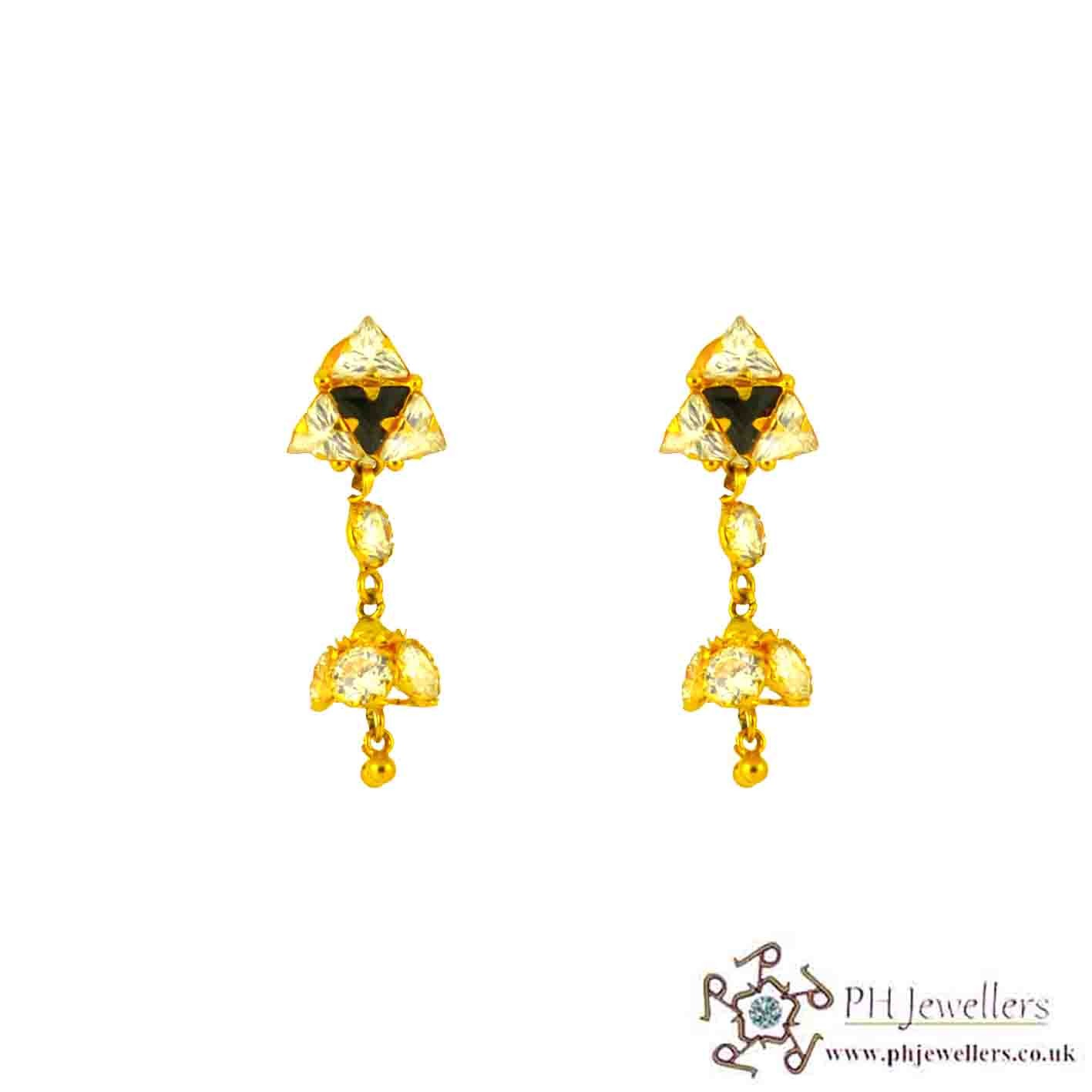 22ct 916 Hallmark Yellow Gold Dangle Black & White Earring CZ TE25