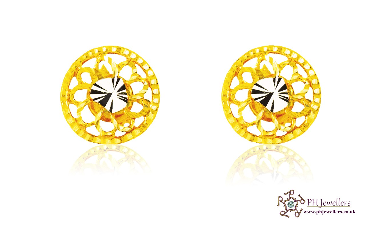 22ct 916 Yellow Gold Tops Earrings CZ TE3