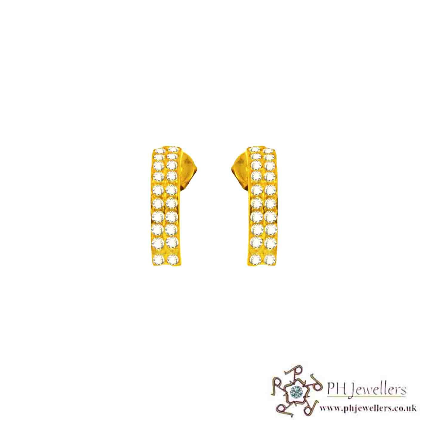 22ct 916 Yellow Gold Earring CZ TE30