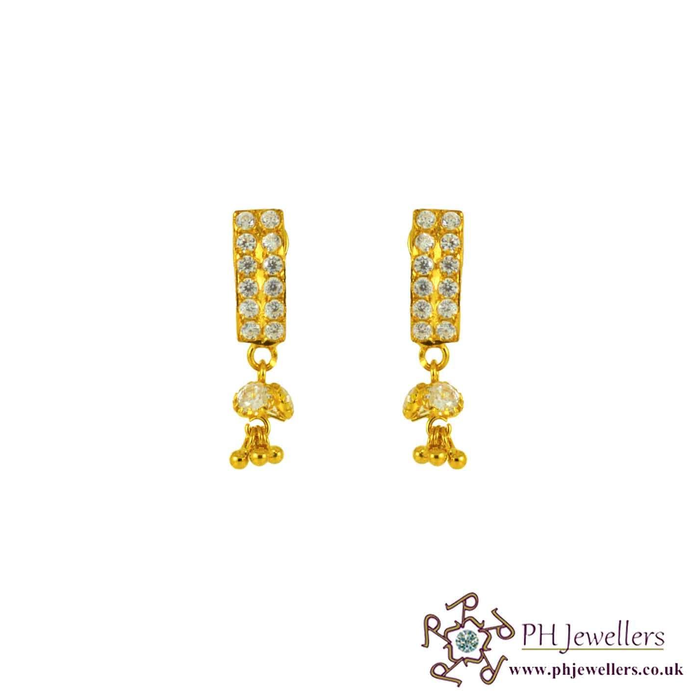 22ct 916 Yellow Gold Dangle Earring CZ TE33