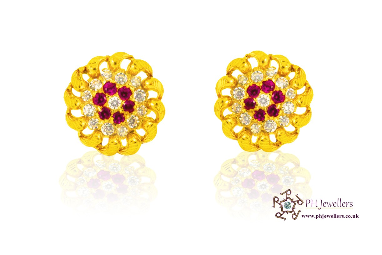 22ct 916 Yellow Gold Tops Earrings CZ TE4