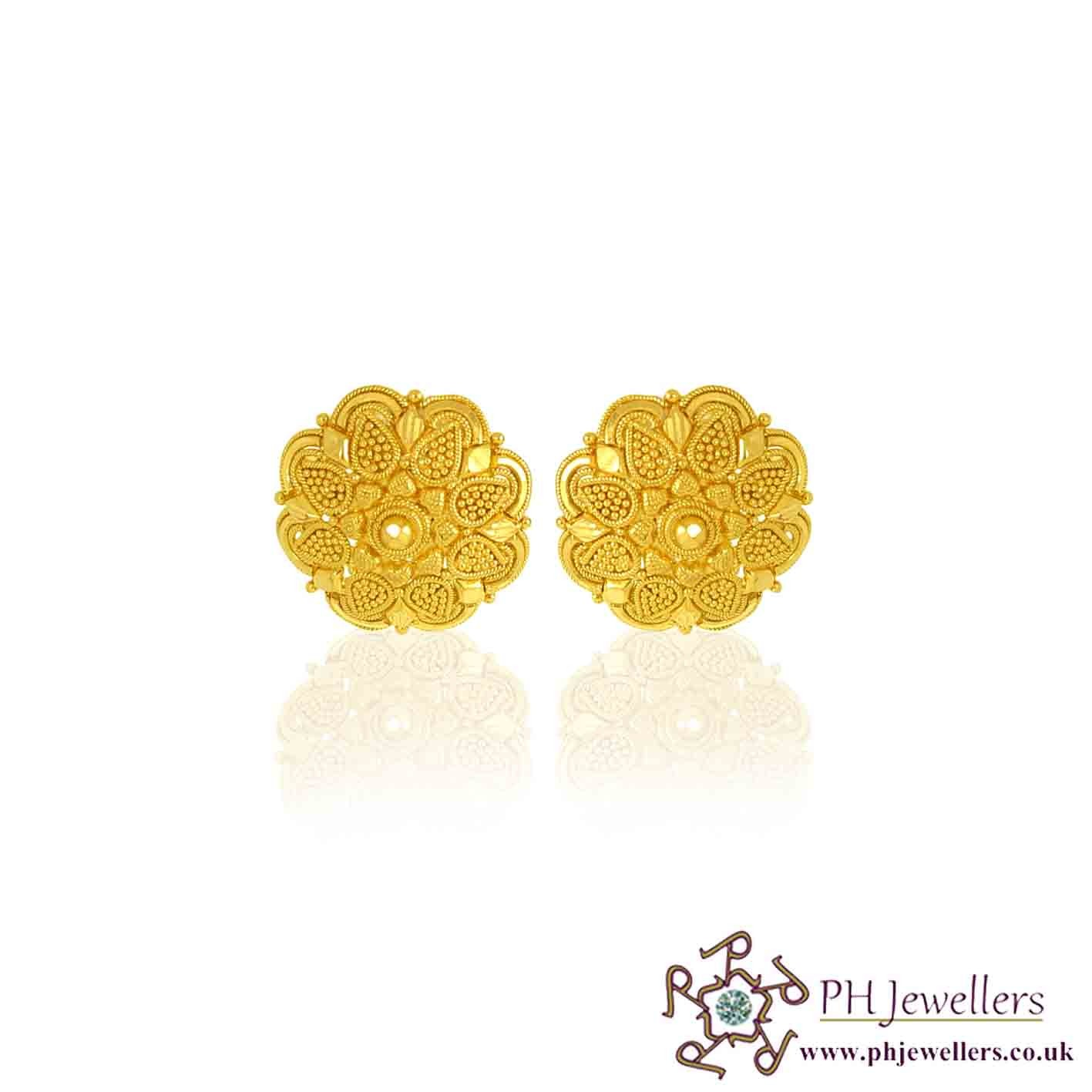 online hallmark long earrings jhumka gold cz jewellers yellow carat jewellery