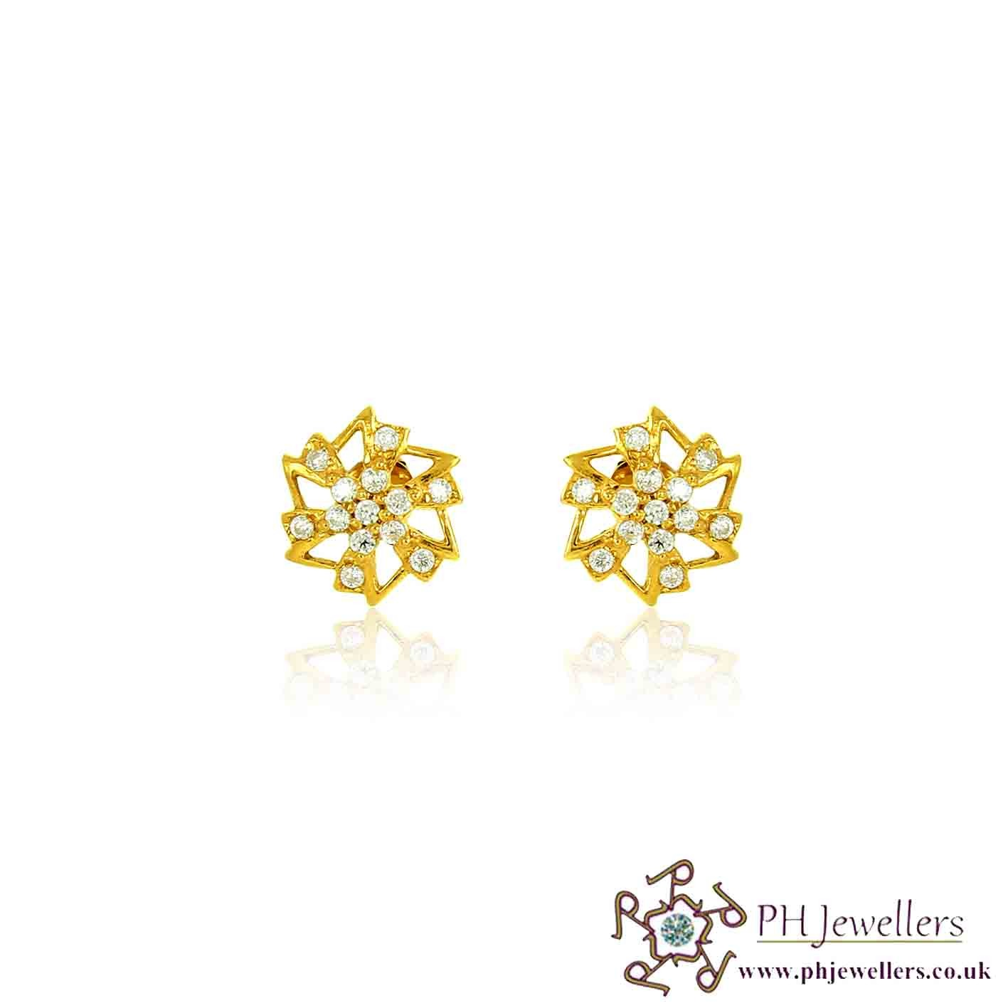 22CT 916 Yellow Gold Round Earring TE75