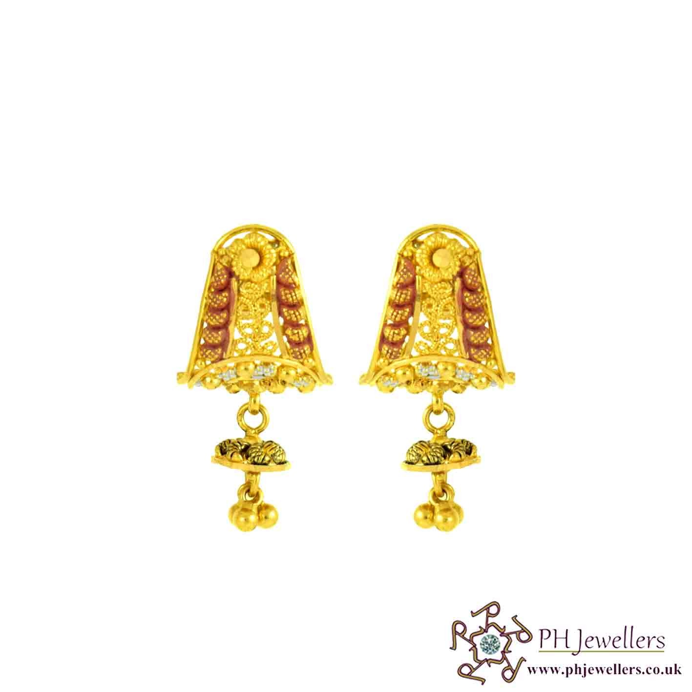 22ct 916 Hallmark Yellow Gold Dangle Rhodium Earring TE76