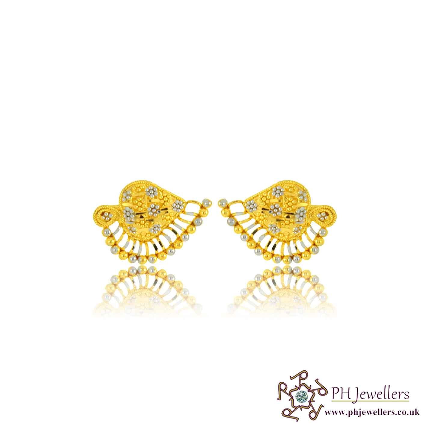 22ct 916 Hallmark Yellow Gold Fan Earring TE78