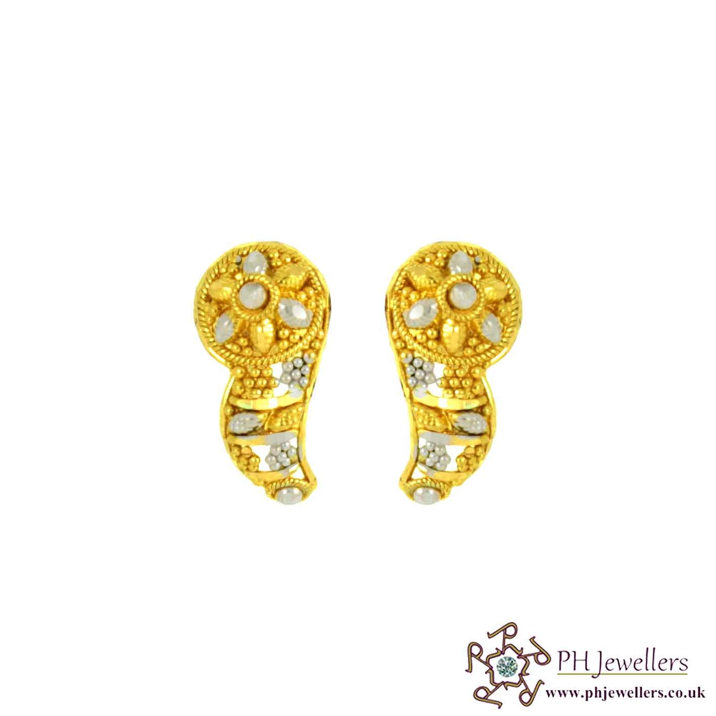22ct 916 Hallmark Yellow Gold Round Earring TE79