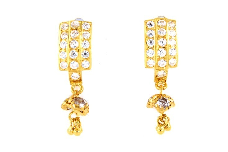22ct 916 Yellow Gold Tops Dangle Earrings with White CZ TE83