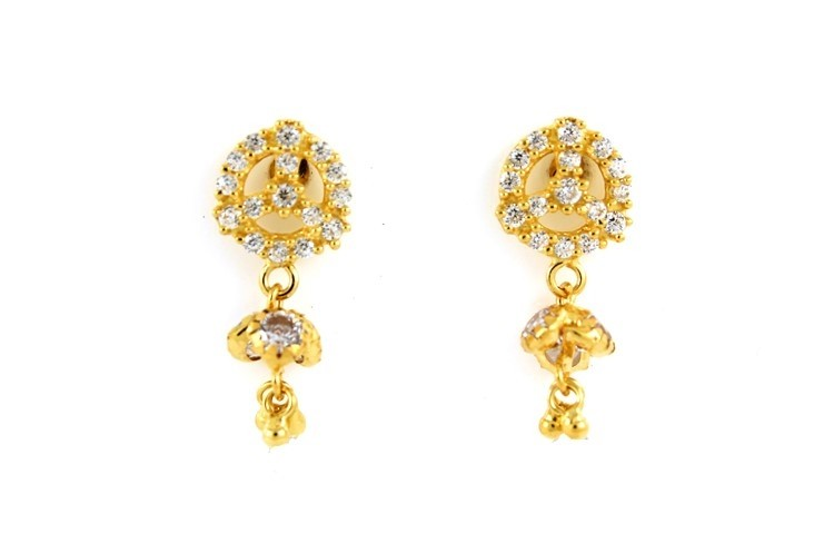 22ct 916 Yellow Gold Round Tops Dangle Earrings with White CZ TE84