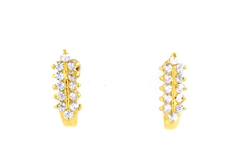 22CT 916 Yellow Gold Tops Earring with white CZ SE104