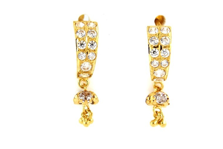 22ct 916 Yellow Gold Tops Dangle Earrings with White CZ TE86