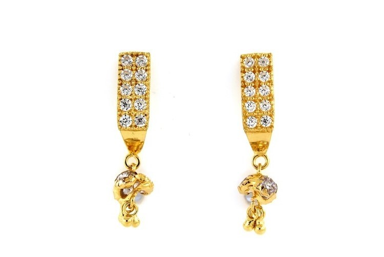 22ct 916 Yellow Gold Tops Dangle Earrings with White CZ TE87