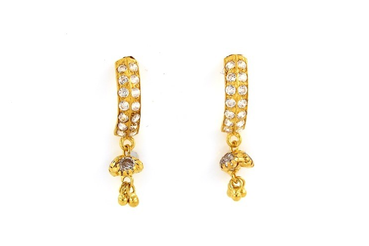 22ct 916 Yellow Gold Half round Tops Dangle Earrings with White CZ TE89