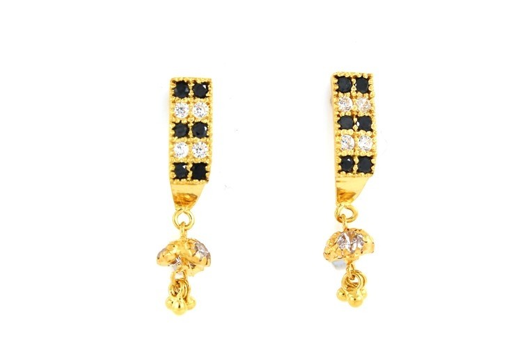 22ct 916 Yellow Gold Tops Dangle Earrings with Black and White CZ TE90