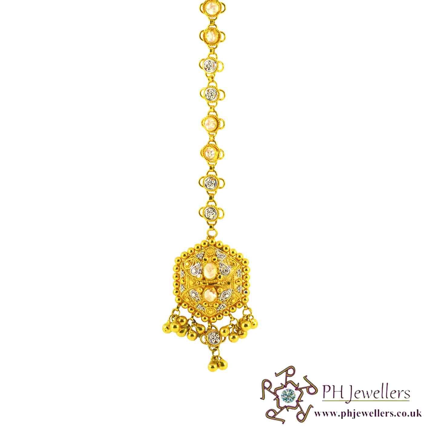 22ct 916 Hallmark Yellow Gold Headpiece Polki Rhodium Tikka TI4