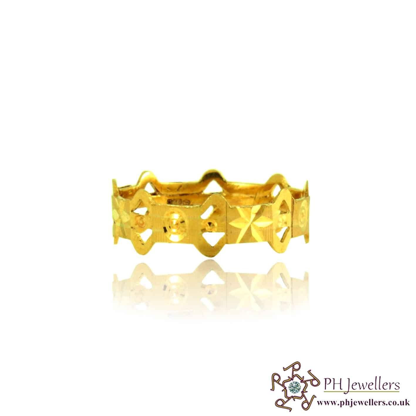 22ct 916 Hallmark Yellow Gold Size O Wedding  Ring WB11