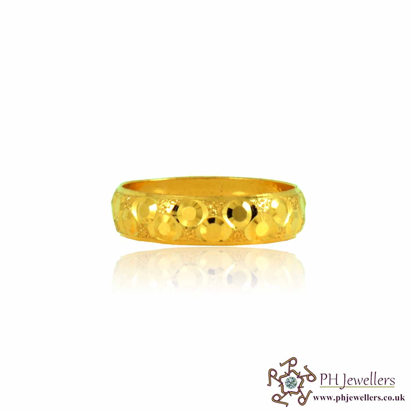 22ct 916 Hallmark Yellow Gold Size K Bridal Wedding Band Ring WB12