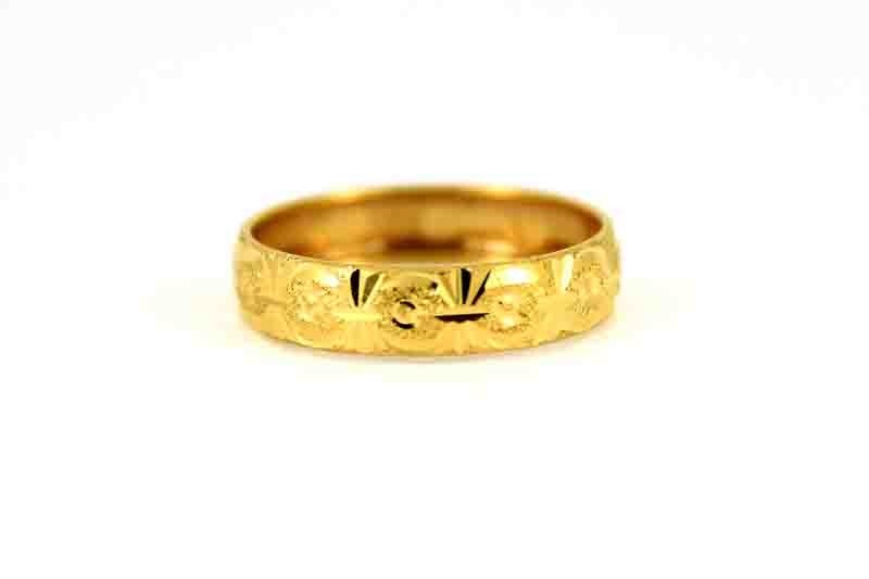 22CT 916 Indian Yellow Gold  Wedding Band Ring SIZE P1/2 WB54