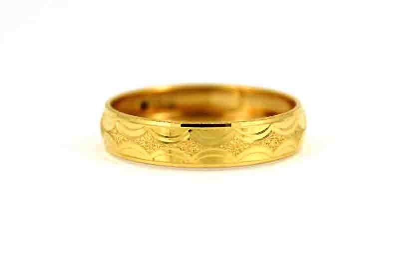 22CT 916 Asian Indian Yellow Gold Wedding Band Light Ring SIZE O1/2 WB59