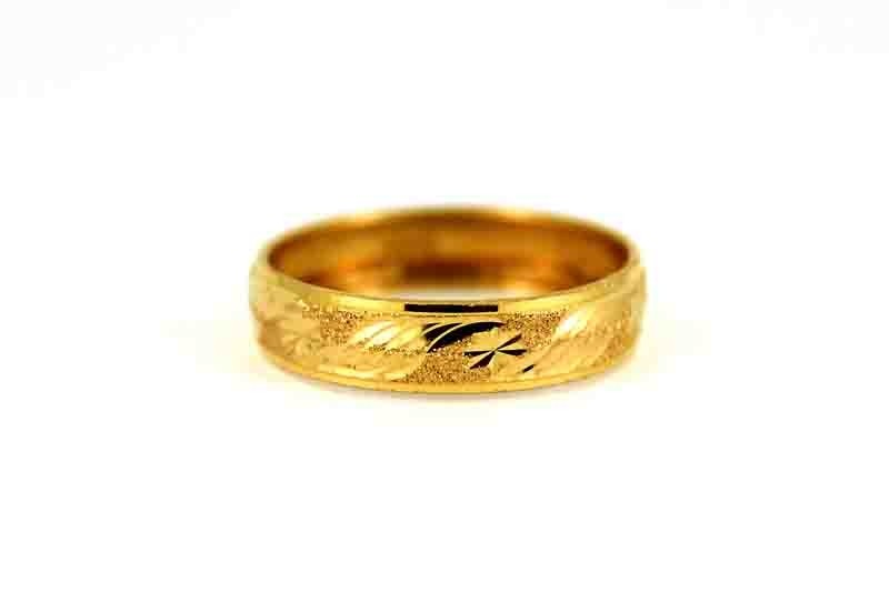 22CT 916 Asian Indian Yellow Gold Wedding Band Light Ring SIZE J1/2 WB64