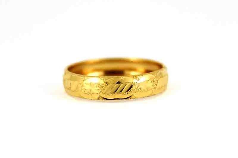 22CT 916 Asian Indian Yellow Gold Wedding Band Light Ring SIZE L WB66