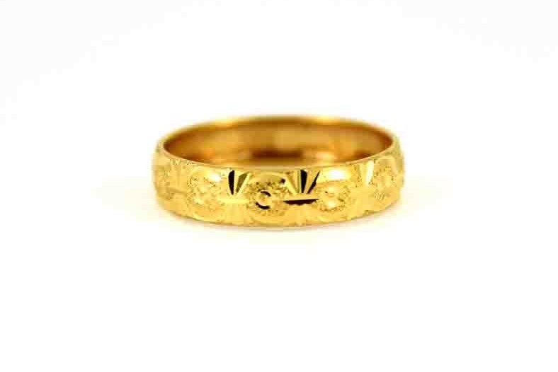22CT 916 Asian Indian Yellow Gold Wedding Band Light Ring SIZE M WB69