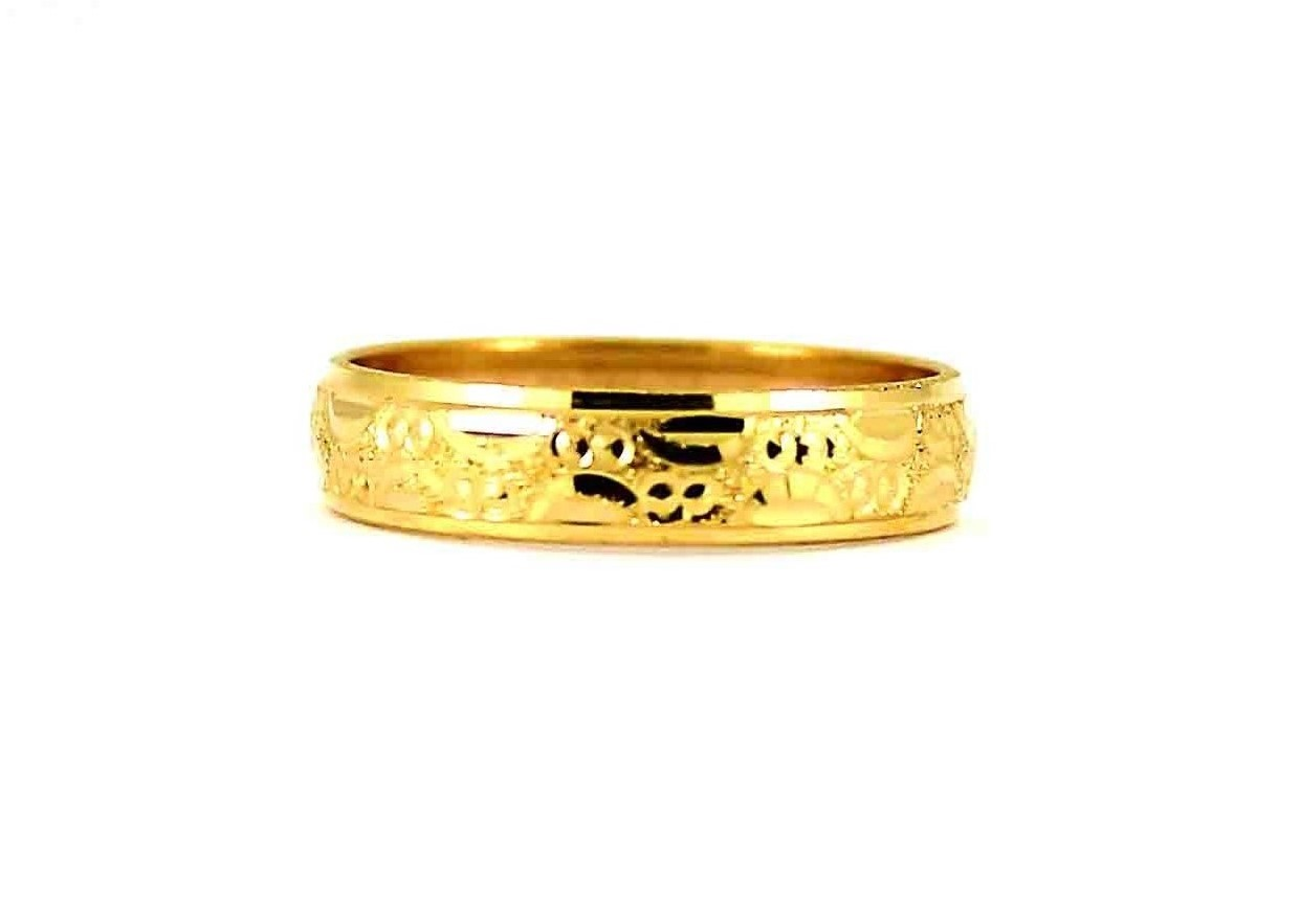 22CT 916 Asian Indian Yellow Gold Wedding Band Light Ring SIZE k1/2 WB77