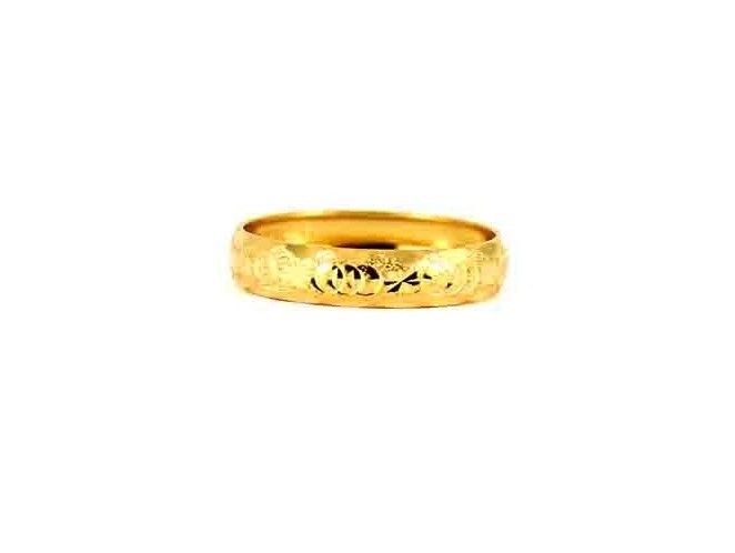 22CT 916 Asian Indian Yellow Gold Wedding Band Light Ring SIZE Q1/2 WB82