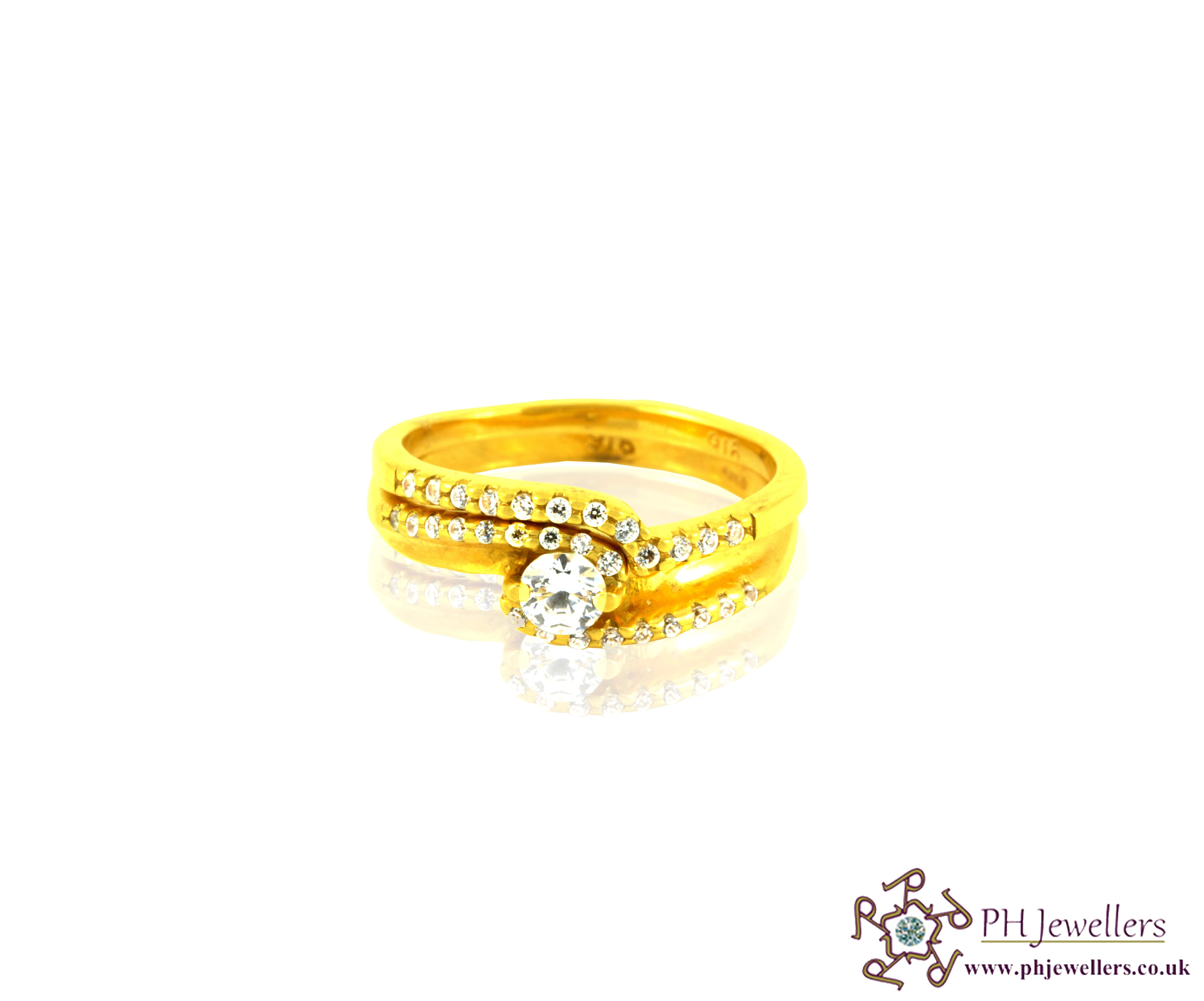 22ct 916 Hallmark Yellow Gold Wedding Band Set Round N/O Ring CZ WBS1