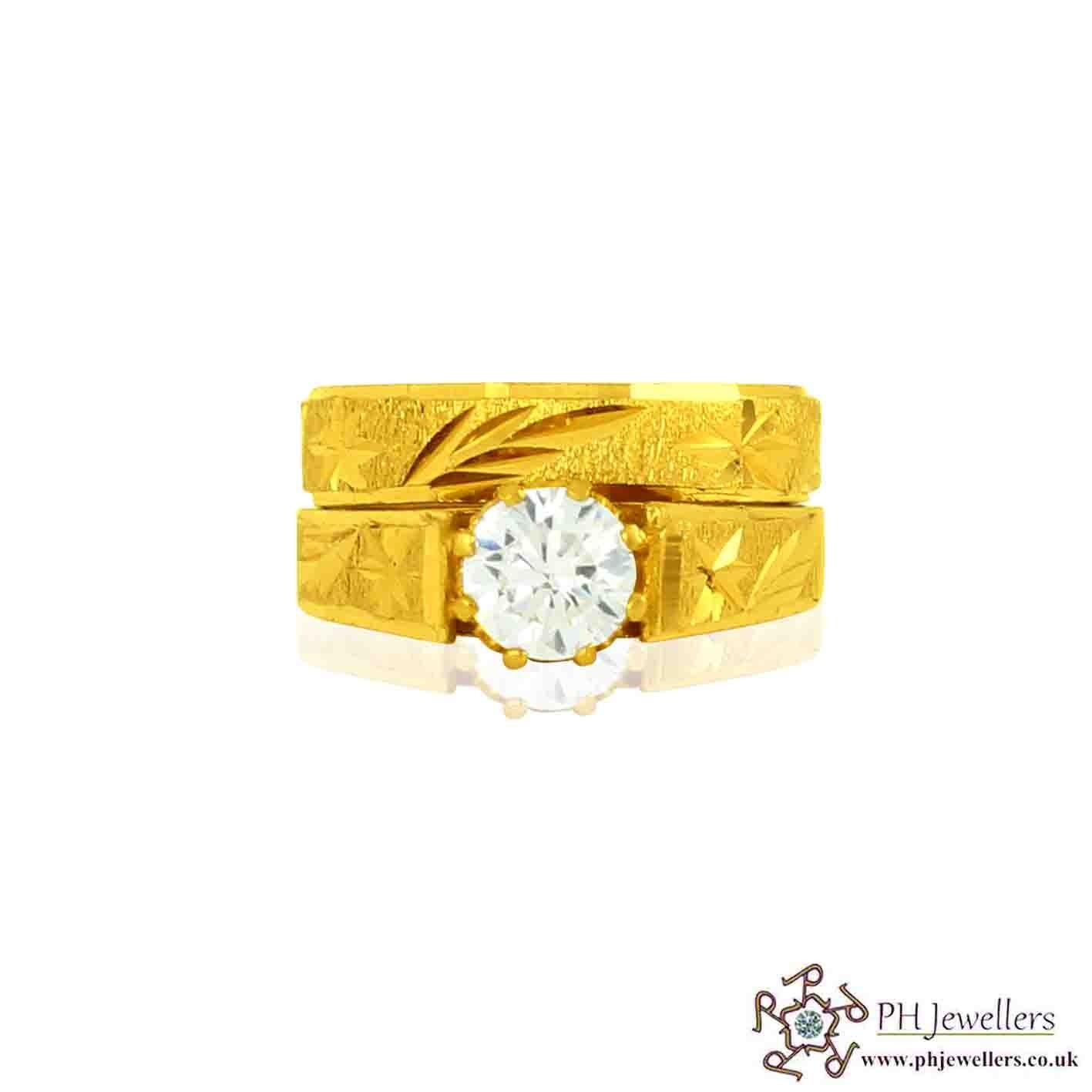 22ct 916 Hallmark Yellow Gold Round Size N Ring CZ WBSR16